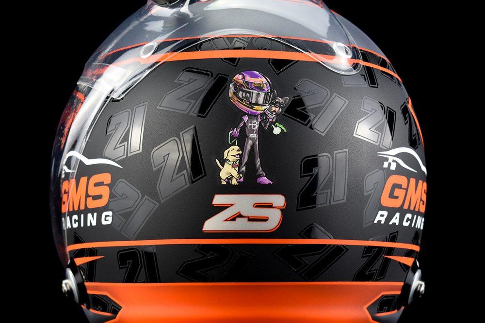 Zane Smith's custom painted Arai GP-6 racing helmet by Venaritio Designs.