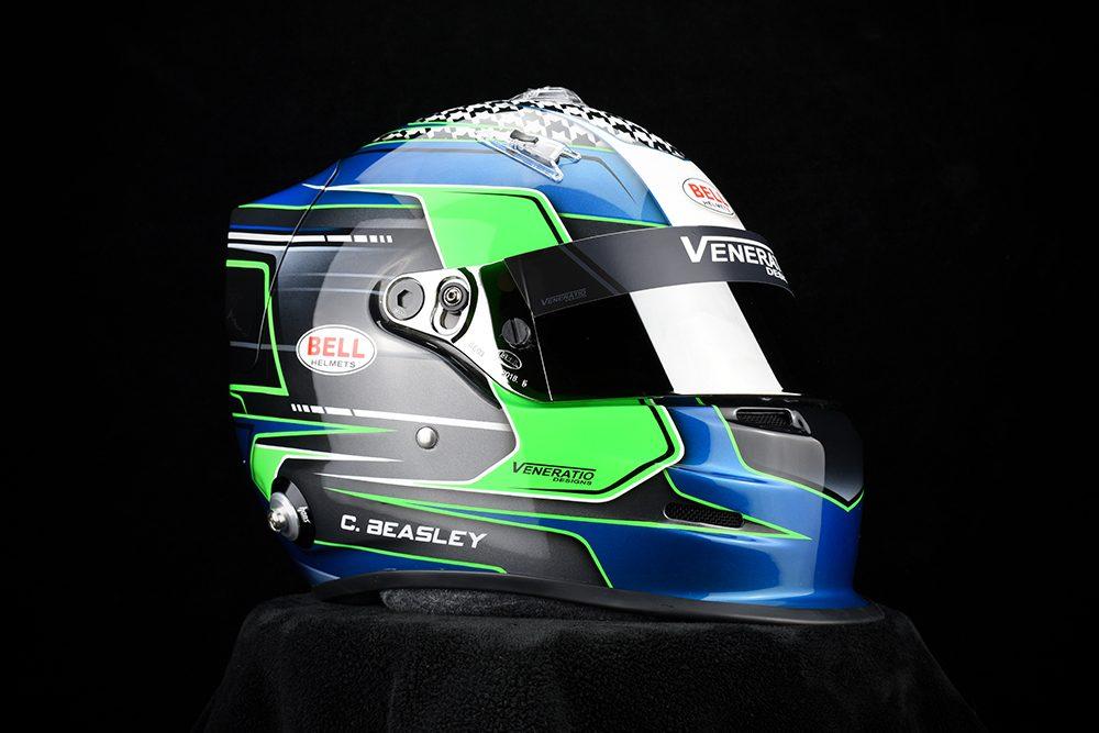 Custom Painted Bell GP.3 Racing Helmet by Veneratio Designs