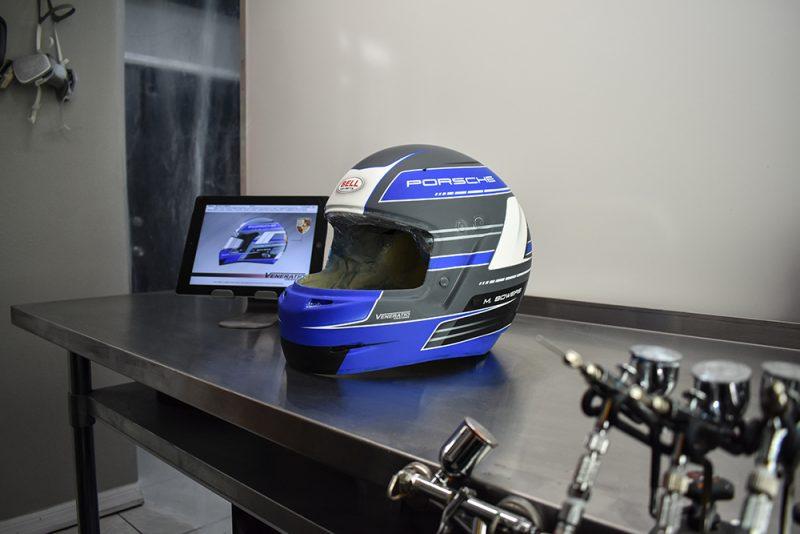 custom painted racing helmet