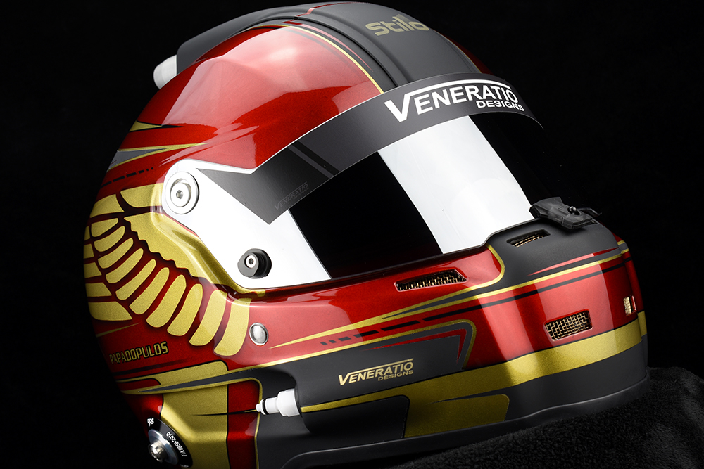 Custom painted helmet with candy red and gold