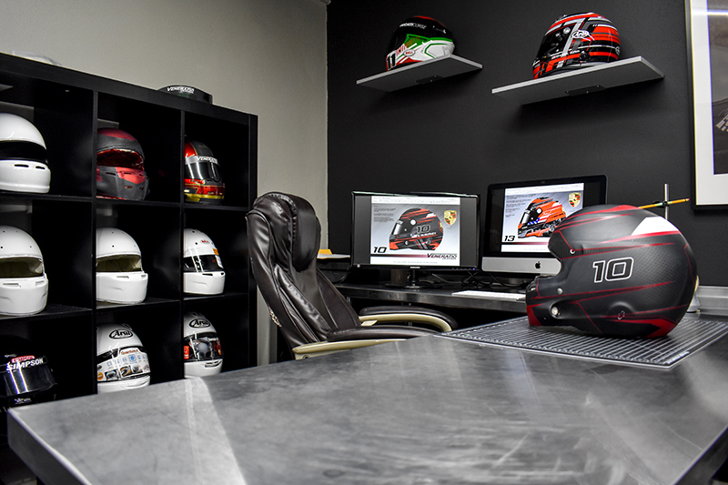 Custom painted racing helmets by Veneratio Designs in Daytona Beach, Fl