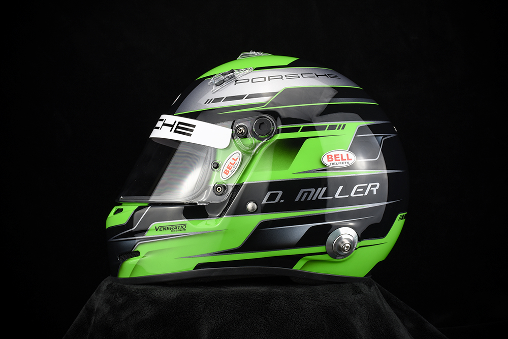 Custom painted Porsche Helmet by Veneratio Designs