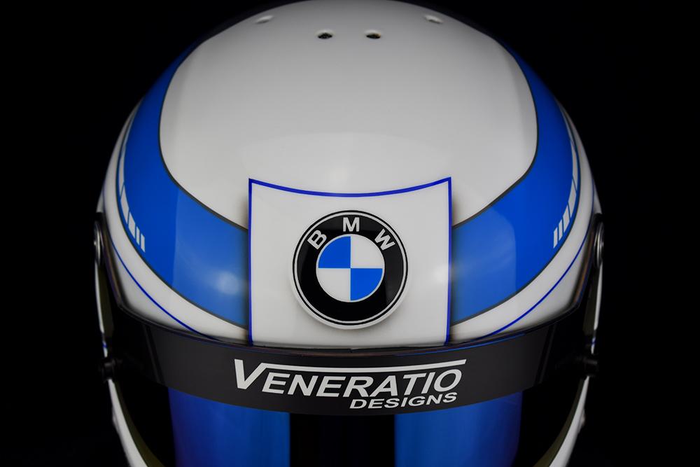 Custom painted BMW racing helmet
