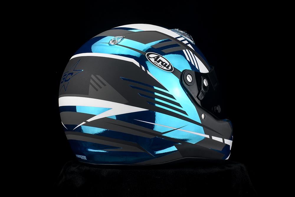 Blue chrome racing helmet by Veneratio Designs