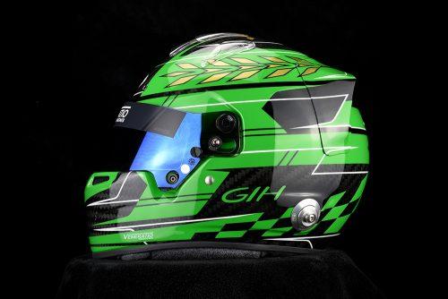 Custom painted Bell racing helmet with Porsche Signal Green